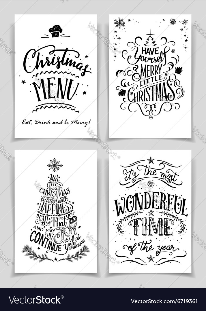 Christmas hand lettered greeting cards set vector image