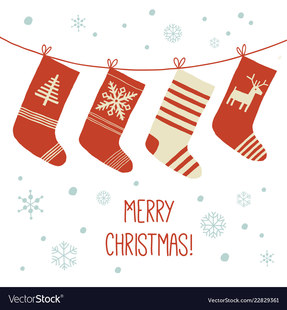 Christmas stockings in winter nature - white and Vector Image