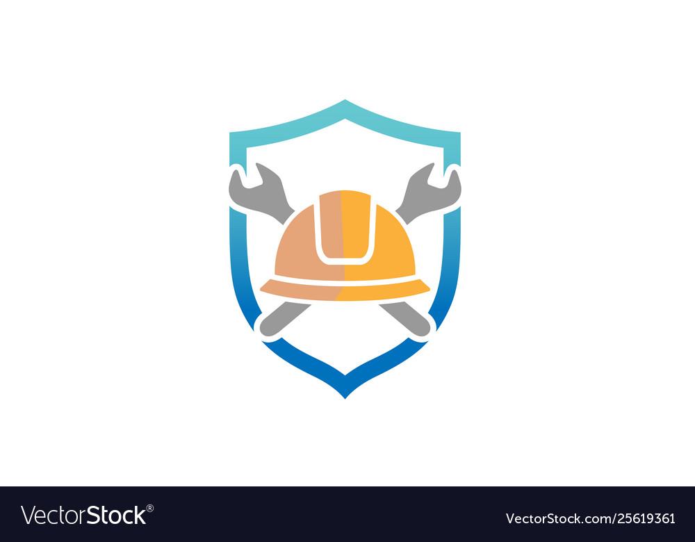 Creative architect hardhat wrench tools logo