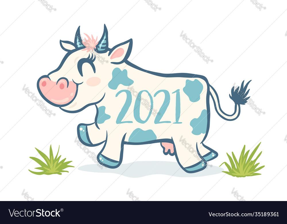 Cute cow like symbol 2021 year