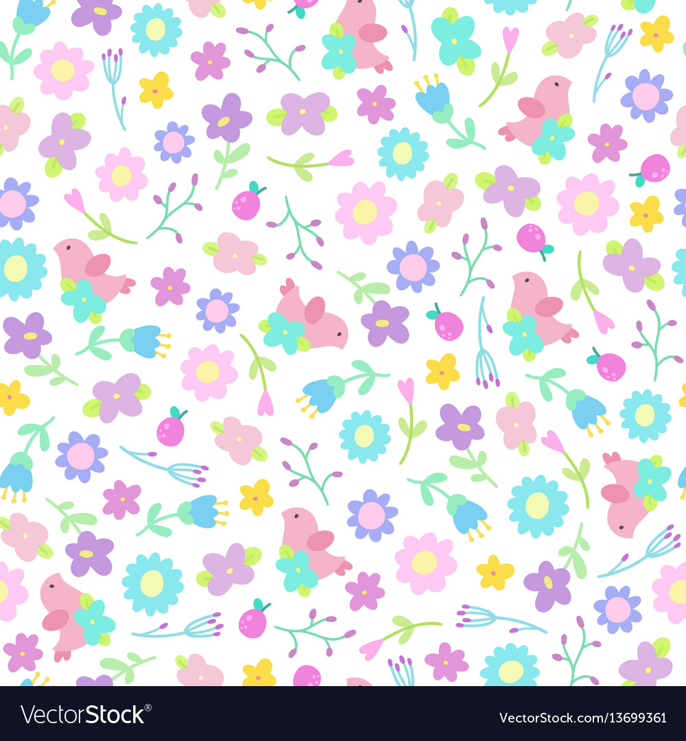 Cute flowers and birds seamless pattern
