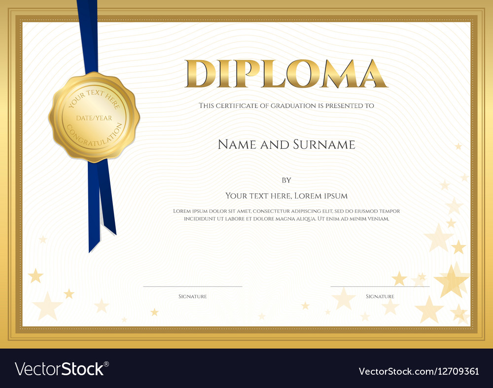 Elegant Diploma Certificate Template Completion Vector Image