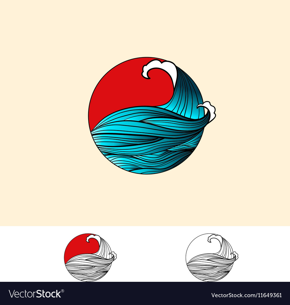 Japan Style Ocean Water Logo Royalty Free Vector Image