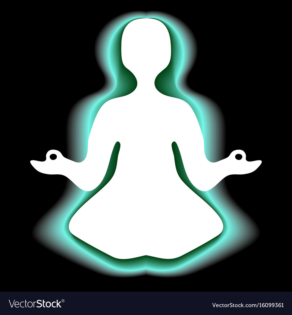 Meditating with green aura