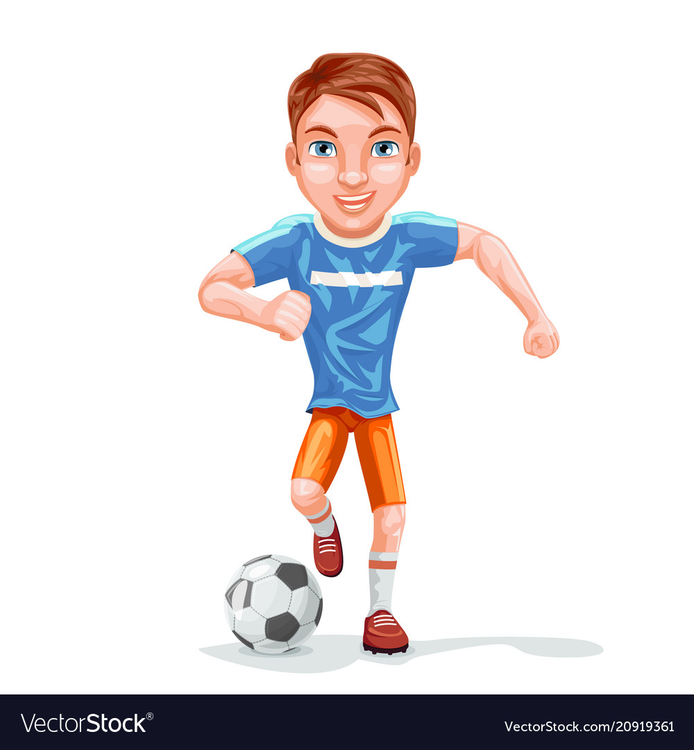 Running football player soccer ball character icon