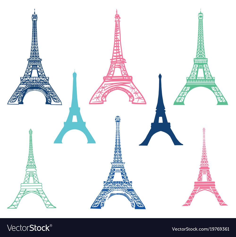 Set of different eiffel tower landmarks