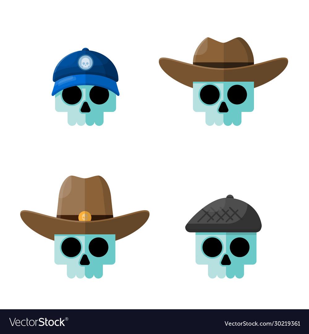 Skulls in hats flat graphic icon set