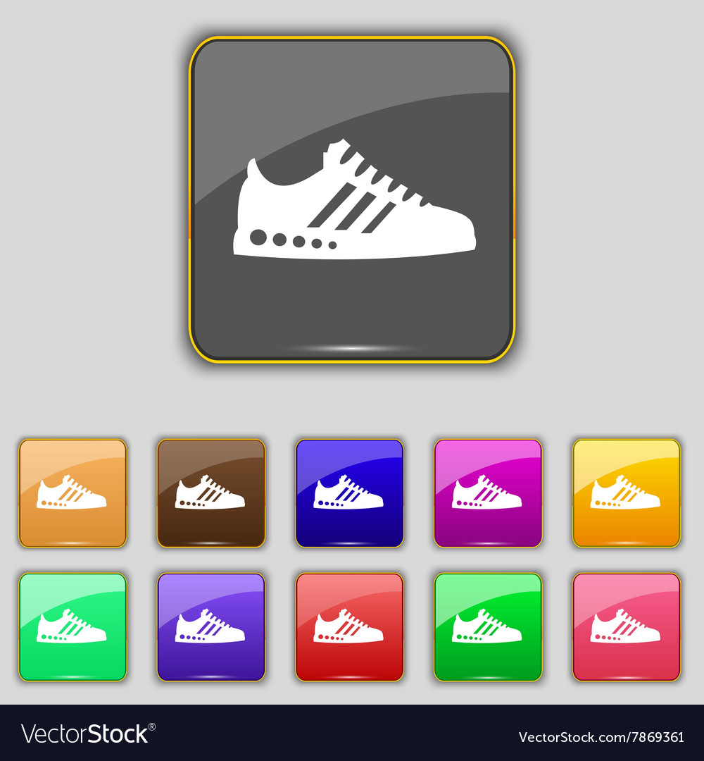 Sneakers icon sign Set with eleven colored buttons
