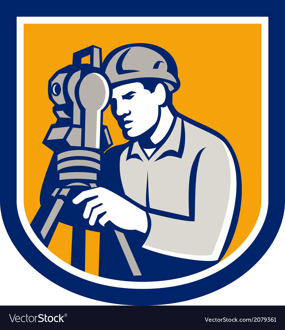 Surveyor Using Total Station Theodolite Retro vector image