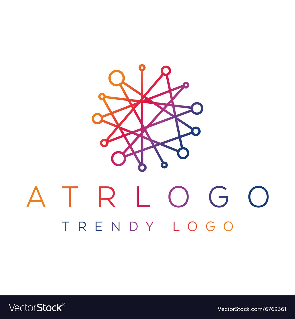 Trending gradient logo in one line abstract lines
