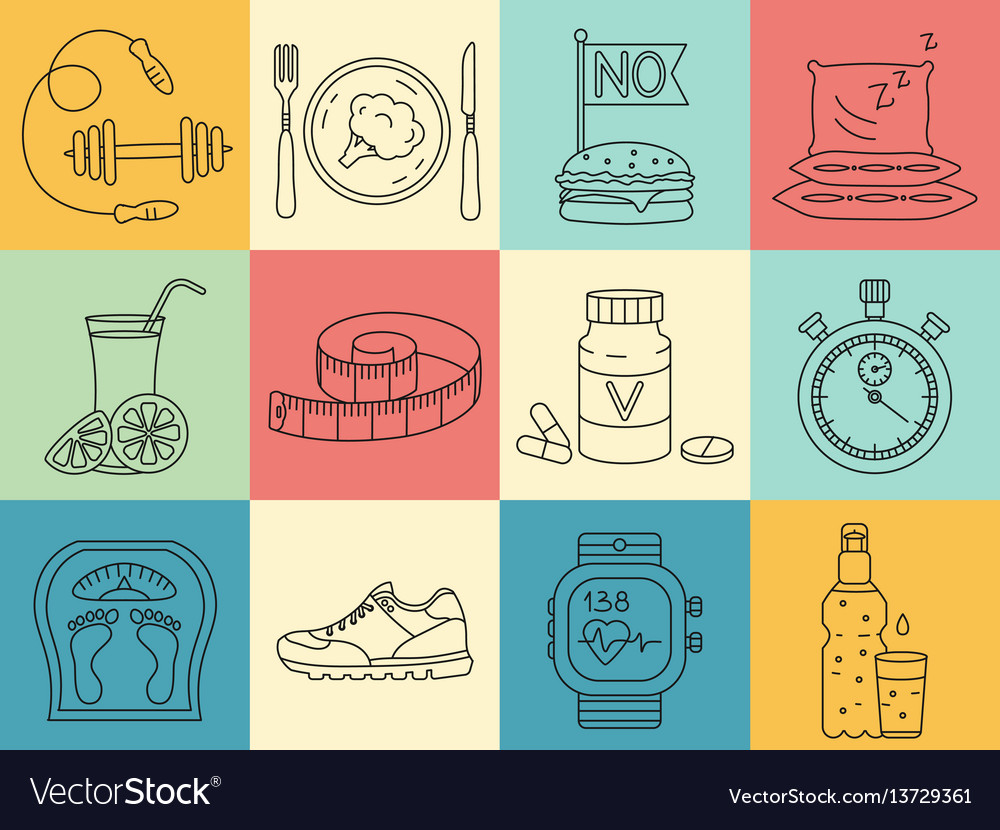 Weight loss diet icons set fitness and health