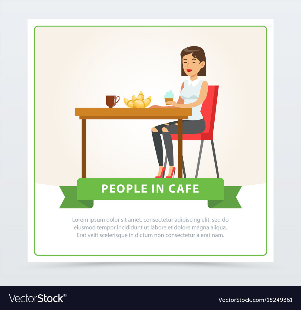Young woman eating and drinking coffee while vector image