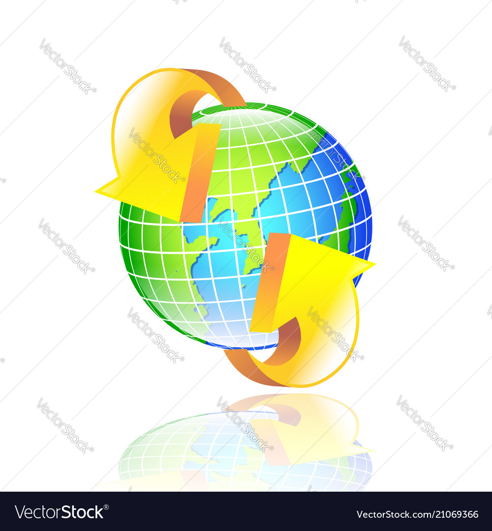 Abstract globe earth with arrows vector image