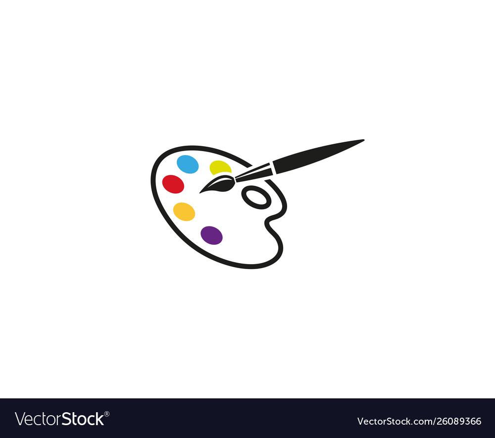 Creative abstract palette brush logo design symbol