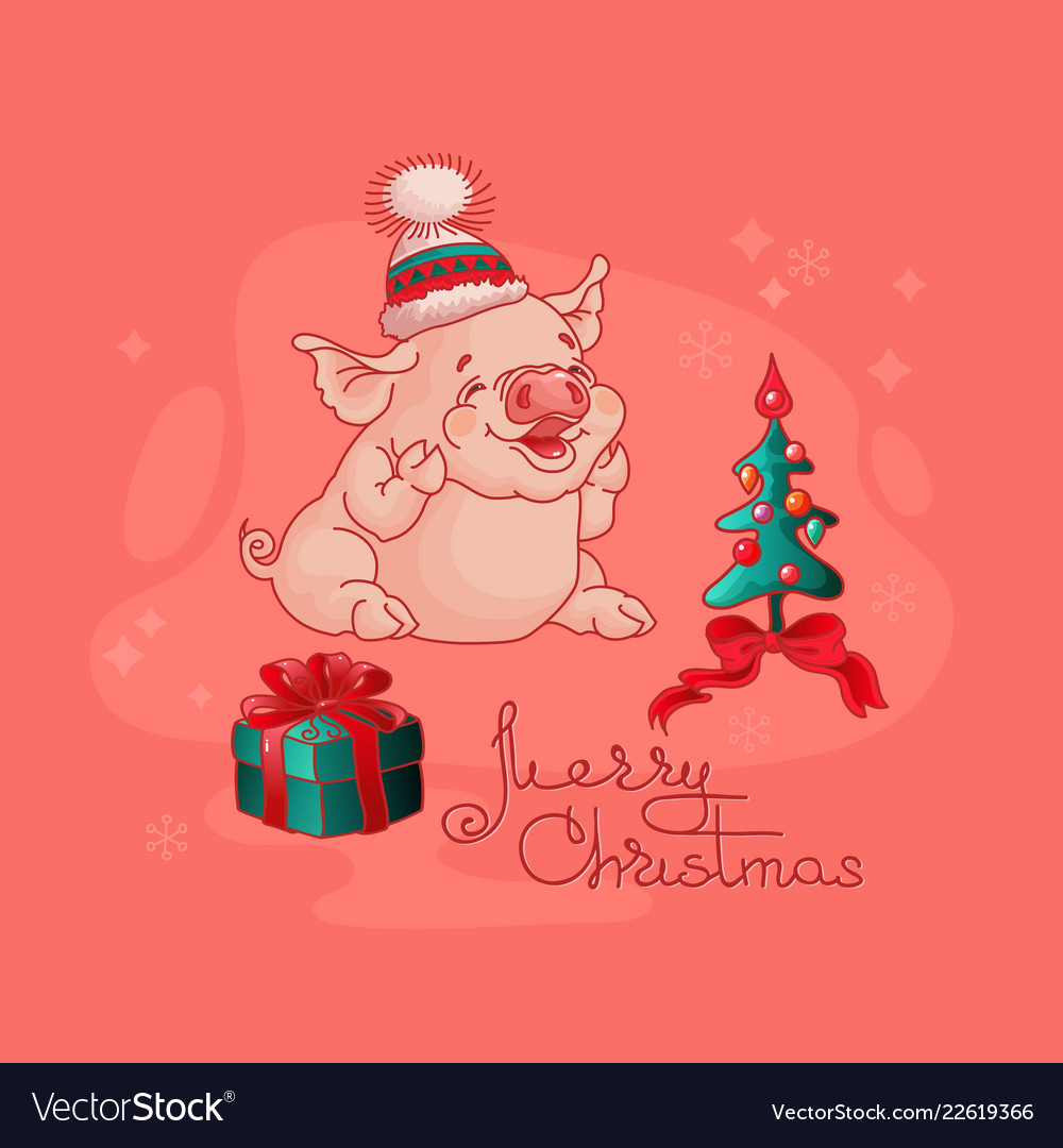 Cute pig gift box and christmas tree