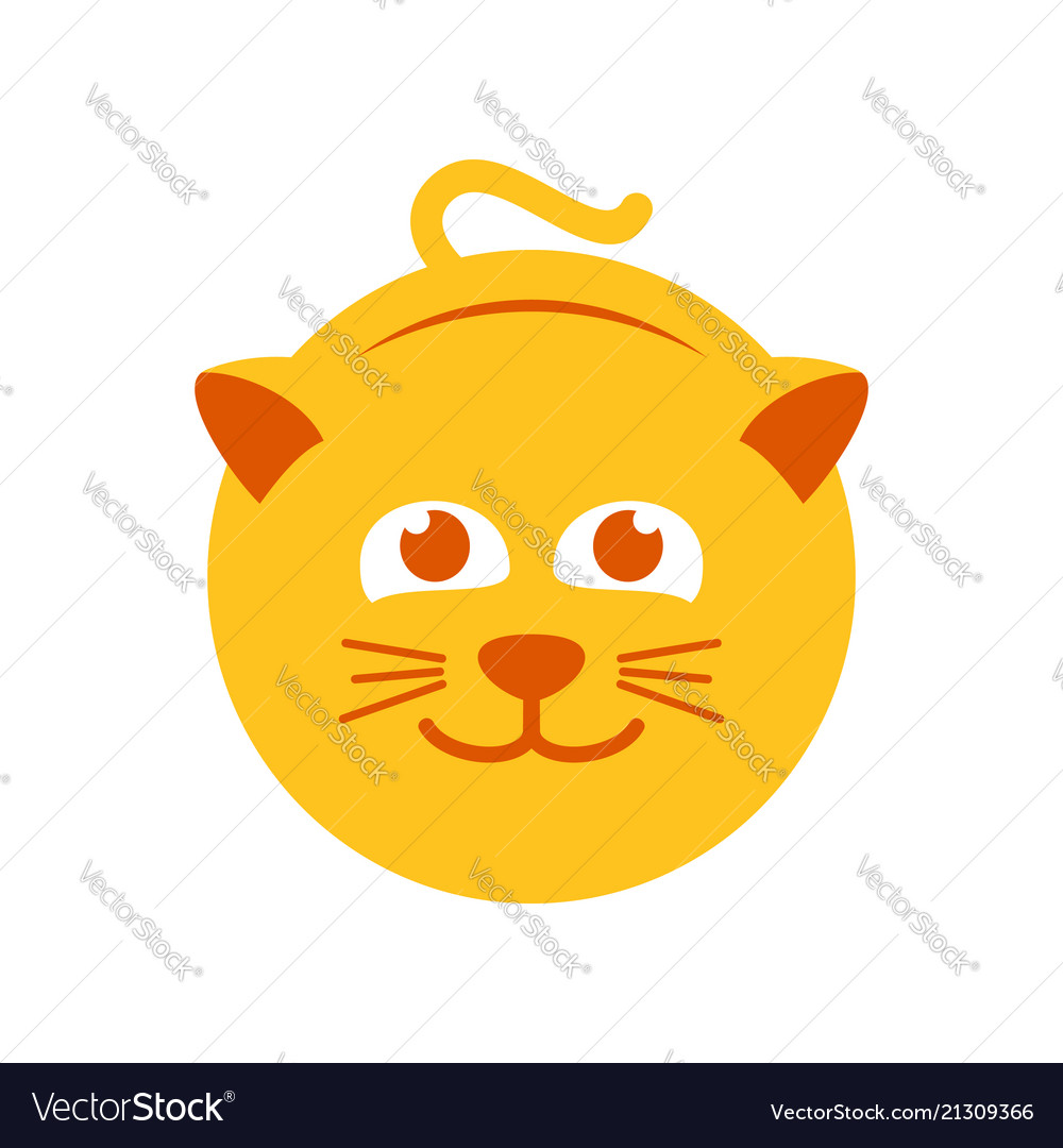 Cute yellow cat symbol logo design