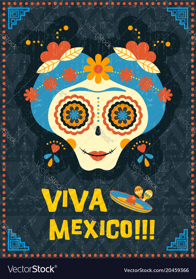 Day of the dead poster of mexican skull woman