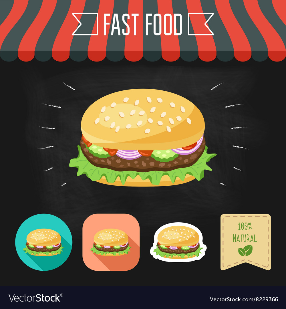 Hamburger icon on a chalkboard Set of icons and