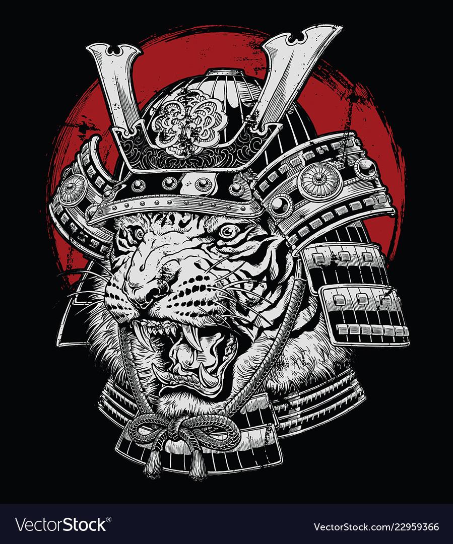 Hand drawn highly detailed japanese tiger samurai