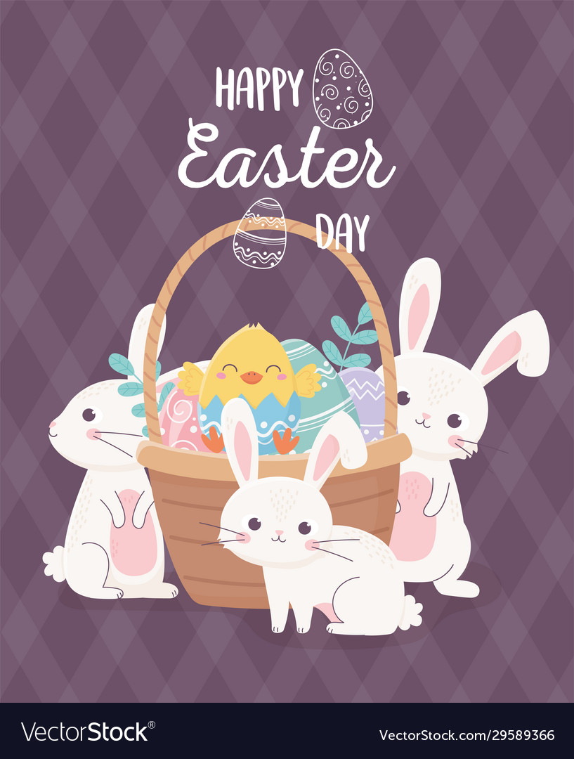 Happy easter cute rabbits chicken in basket