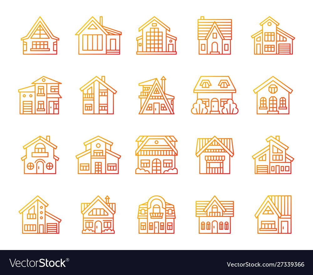 House simple color line icons exterior set