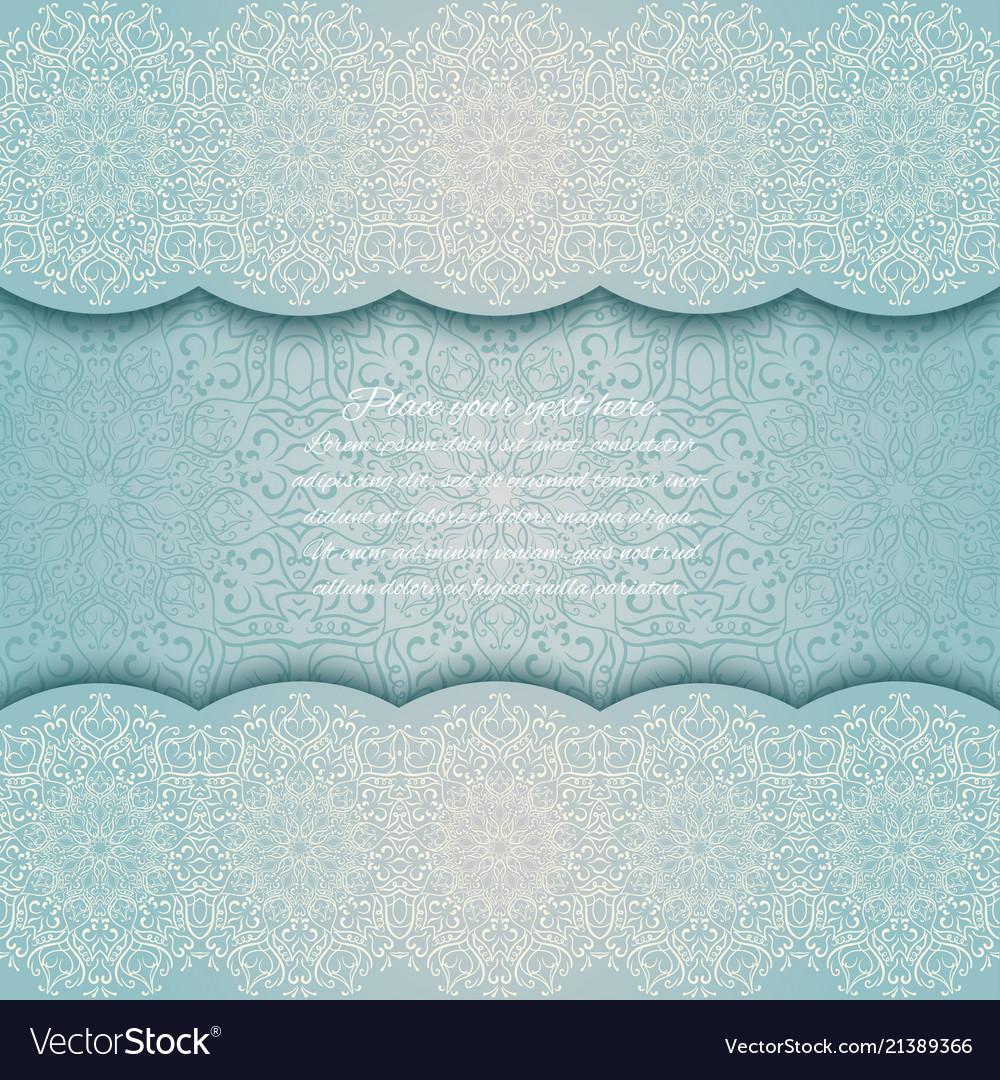 Invitation card with mandala border turquoise lace