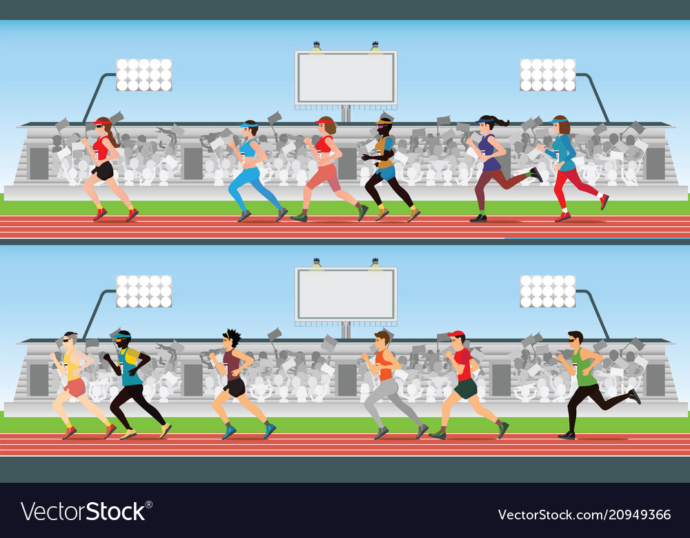 Marathon runner men and women on running race vector image