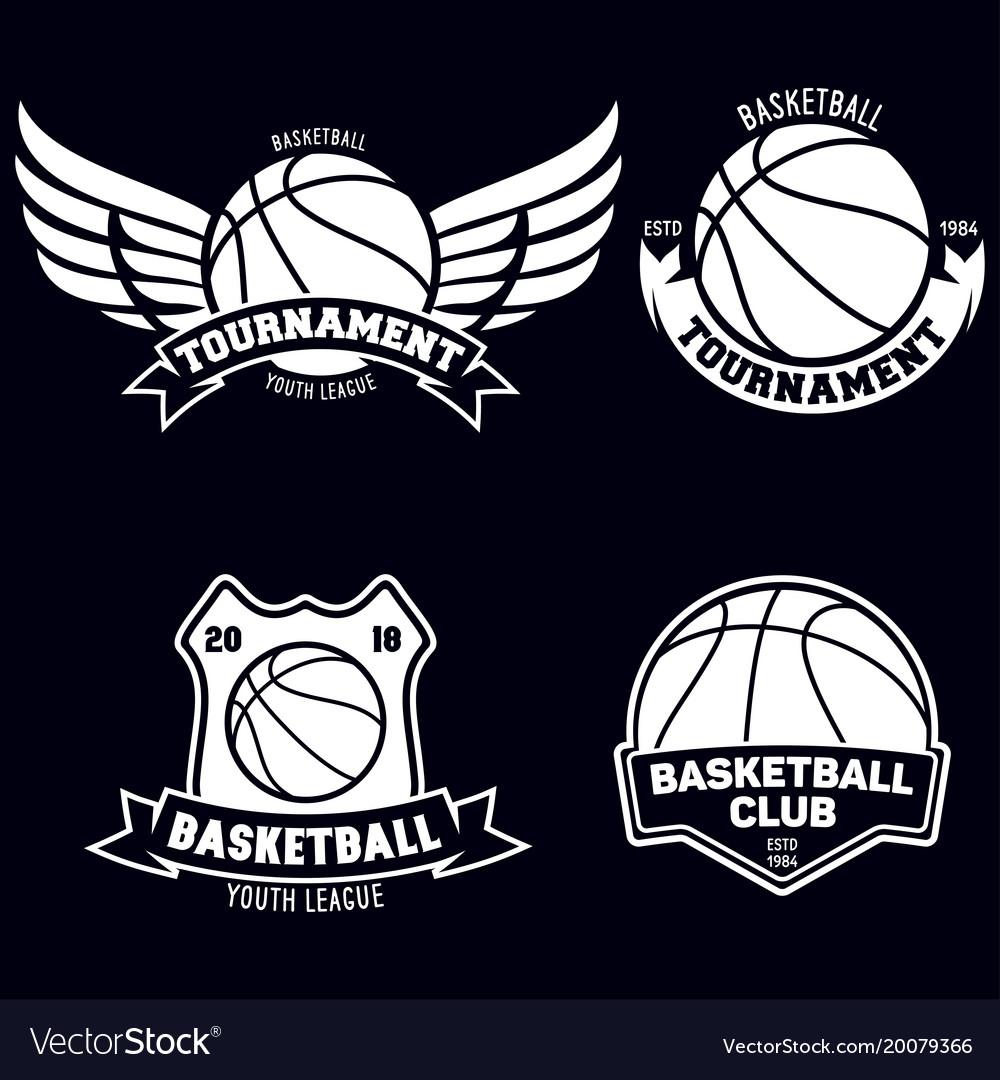 Set of basketball sport emblems design element