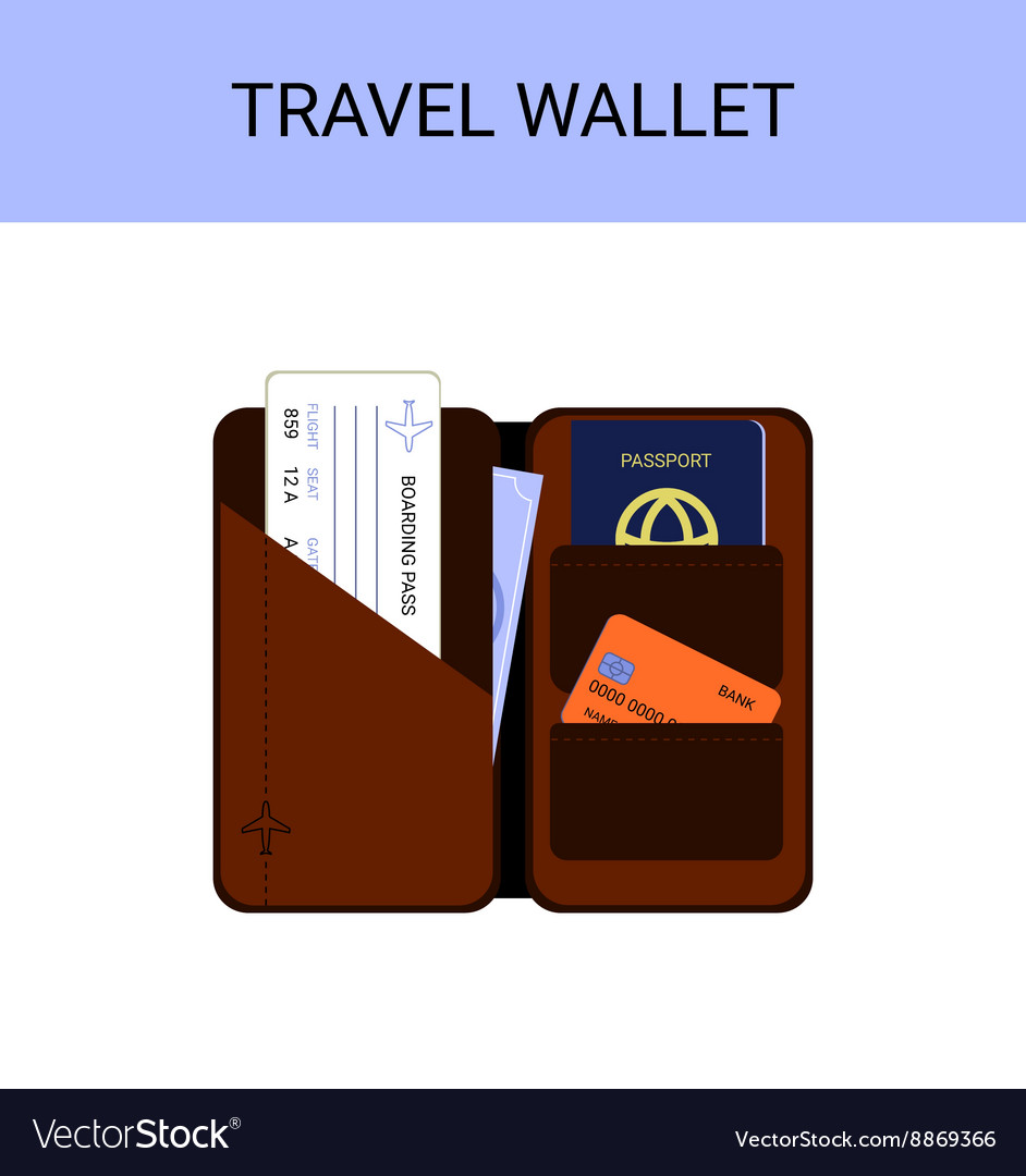 Travel Wallet With Passport Money Boarding Pass Vector Image