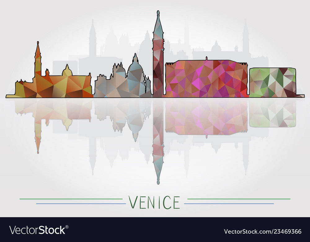 Venice city background with cityscape silhouette