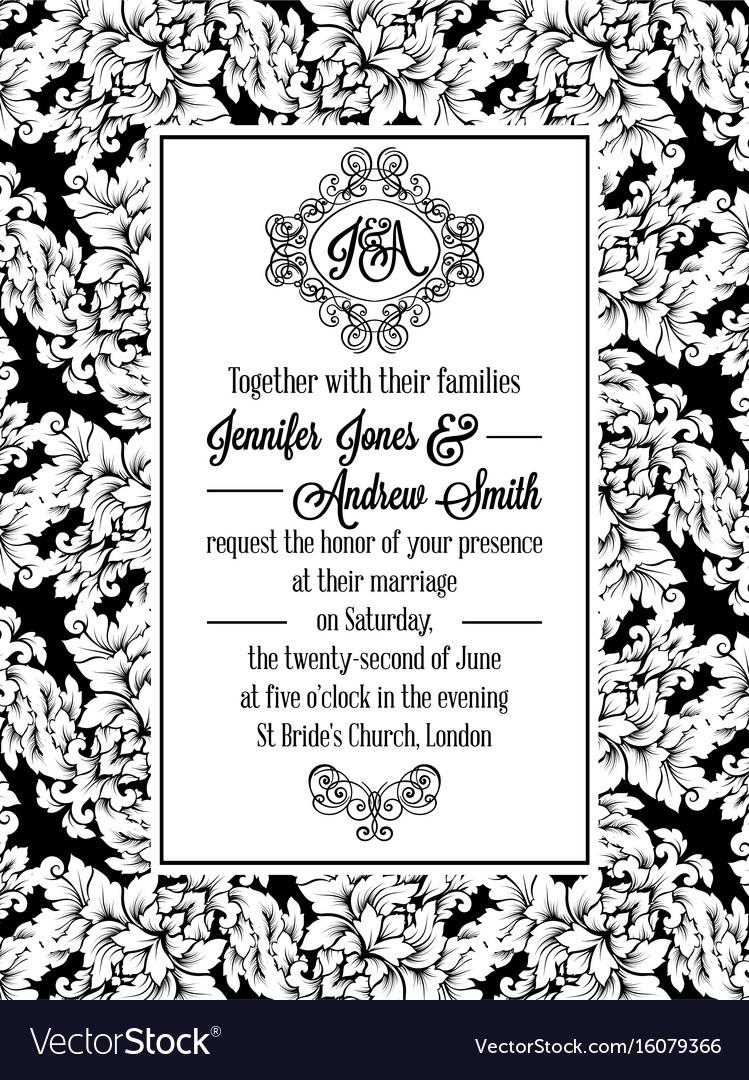 Vintage delicate formal invitation card royalty free vector vintage delicate formal invitation card vector image stopboris Images