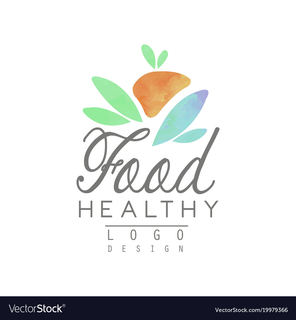 Watercolor logo template with abstract fruit and vector image
