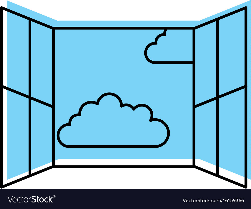 Window with clouds sky isolated icon