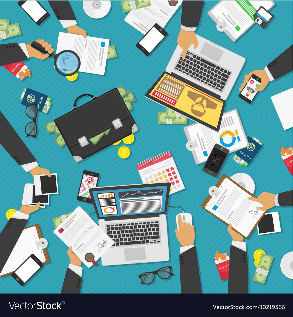 Workplace of business people vector image