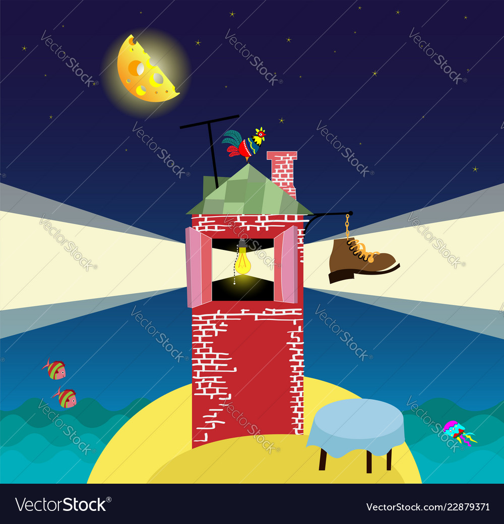 Cartoon landscape with lighthouse night sea and