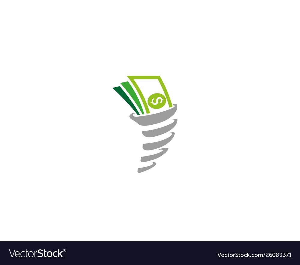 Creative Abstract Money Cash Storm Logo Design Vector Image
