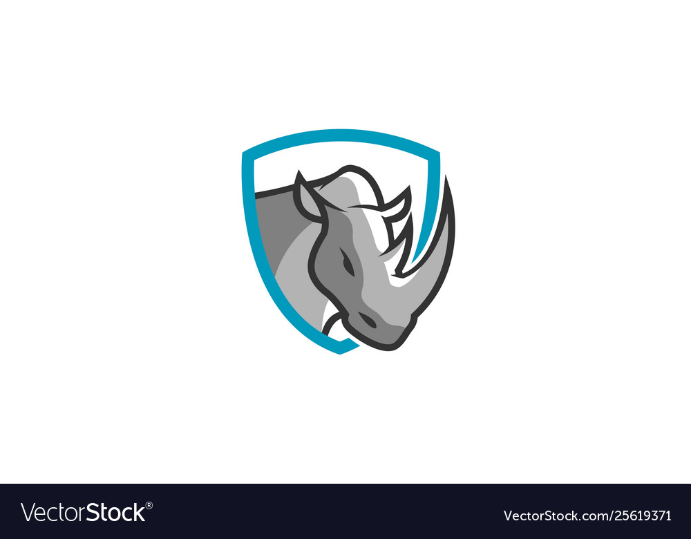 Creative blue rhinoceros logo design symbol