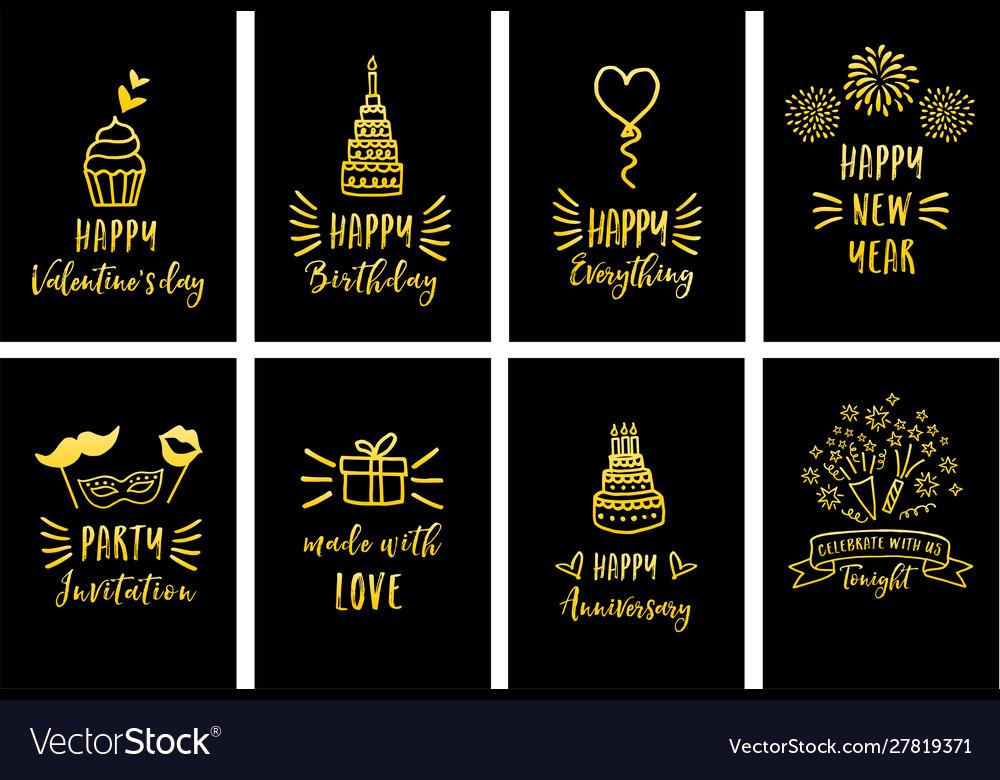 Gold celebration cards set