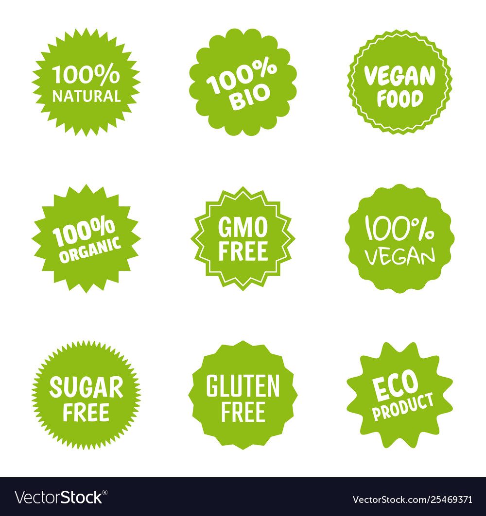 Healthy food icon set natural product labels