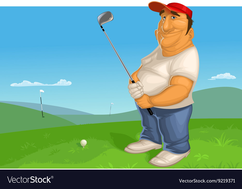 Man playing golf vector image