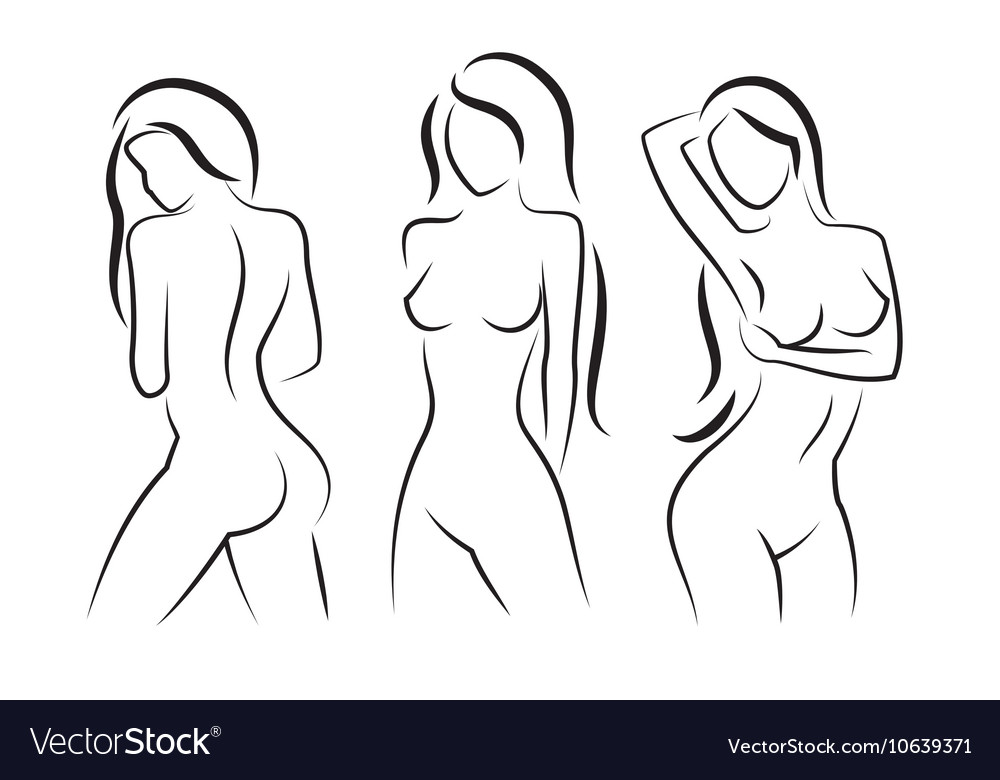 Nude woman silhouette Beautiful girl vector image