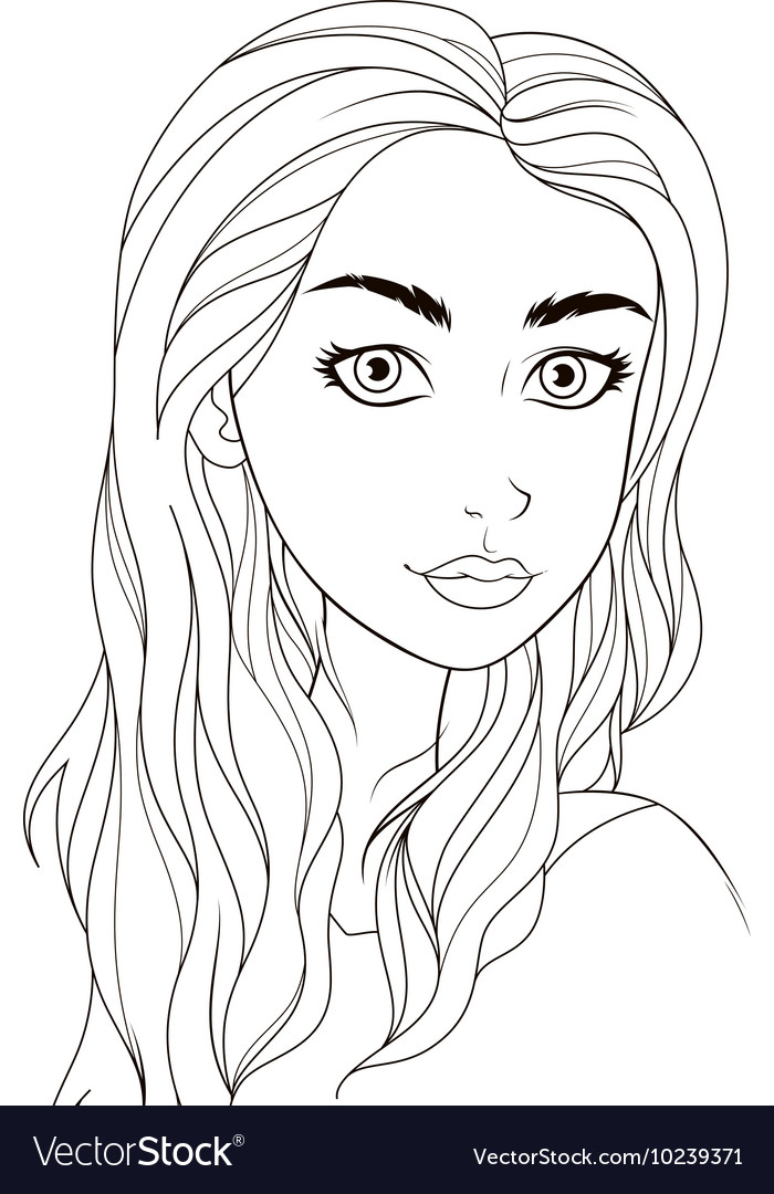 Pattern for coloring book Beautiful girl