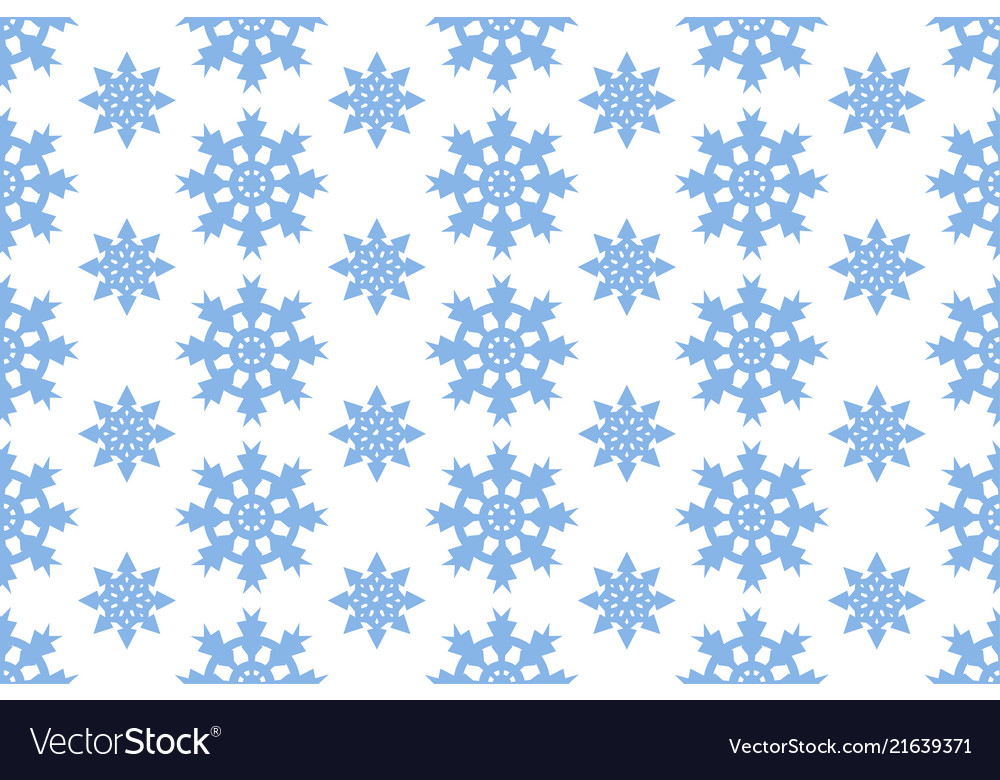 Seamless pattern with blue snowflakes winter