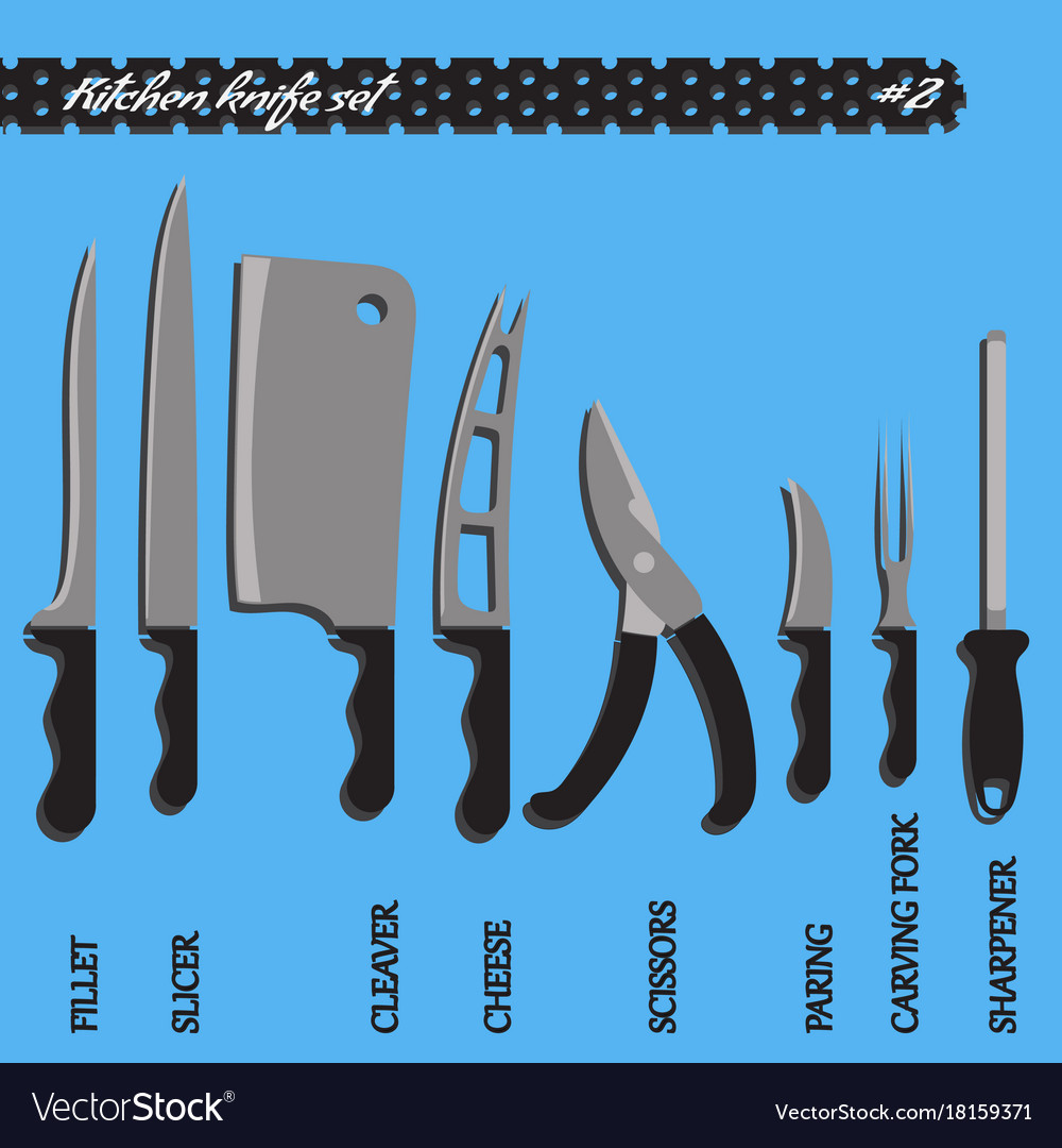 Set number two kitchen knives Royalty Free Vector Image