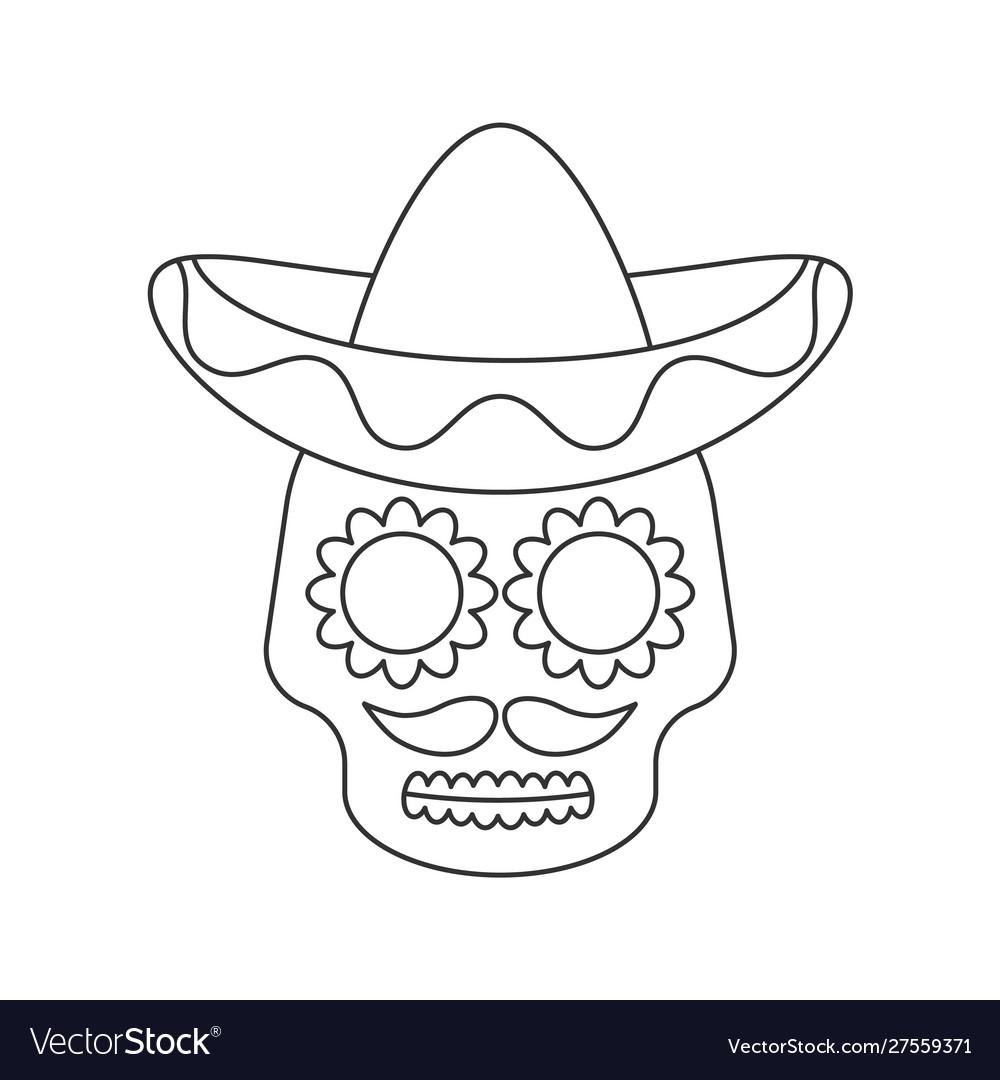 Sugar skull in sombrero line icon on white