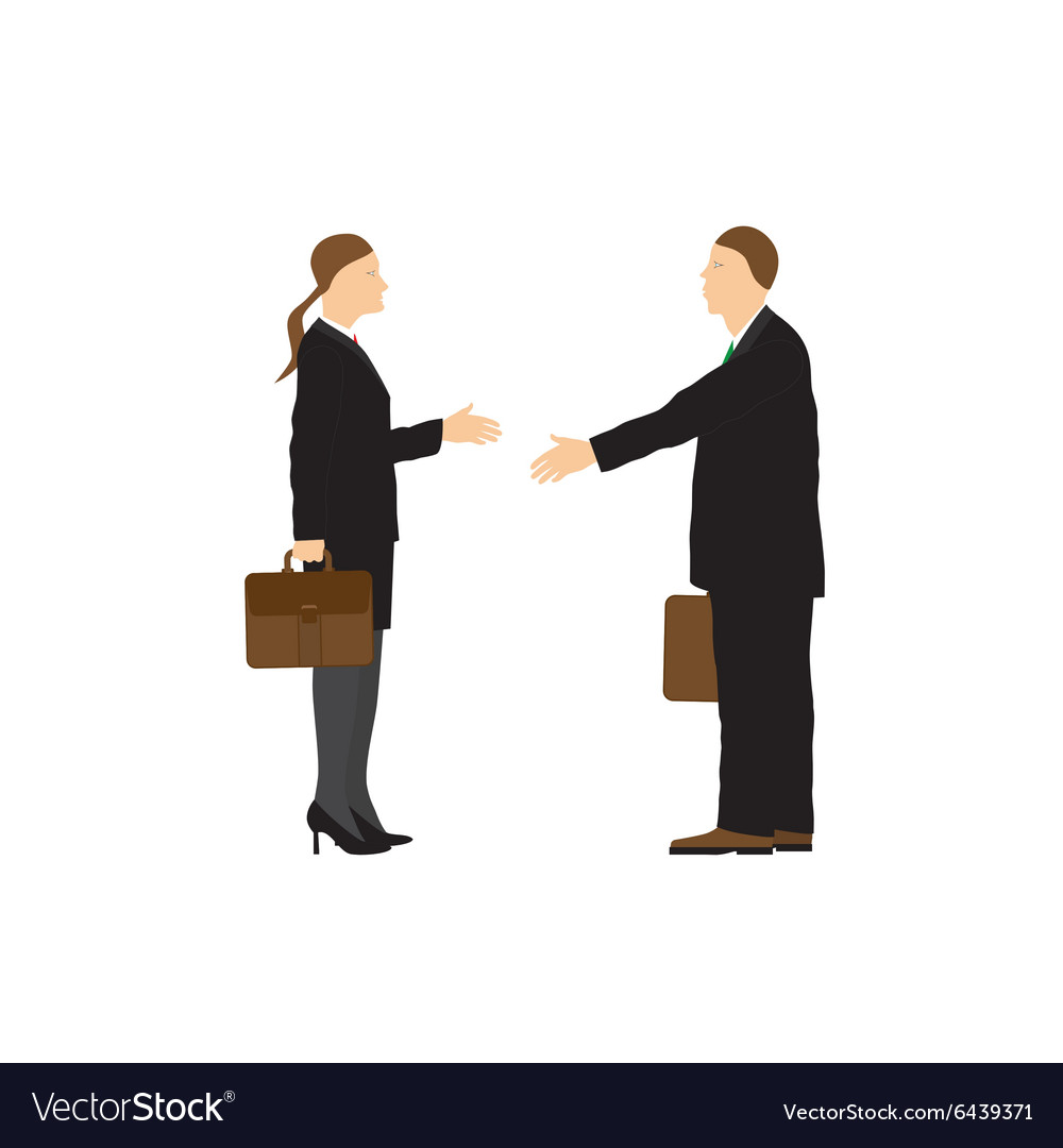 Two businessmen Man and woman Handshake vector image