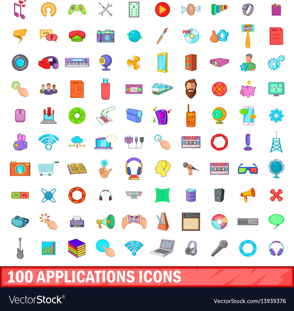 100 applications icons set cartoon style
