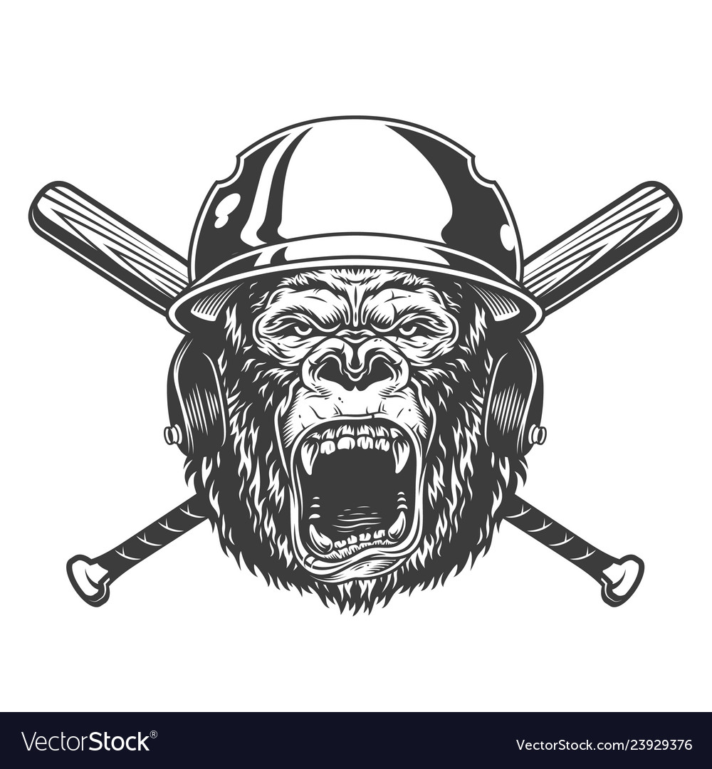 Angry gorilla head in baseball helmet