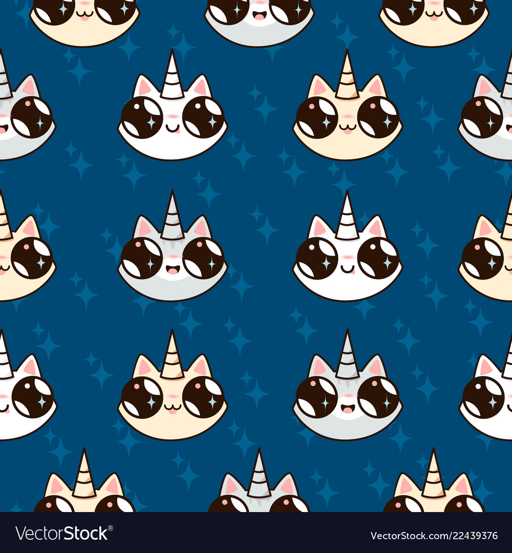 Cartoon cats unicorns childrens fairy pattern