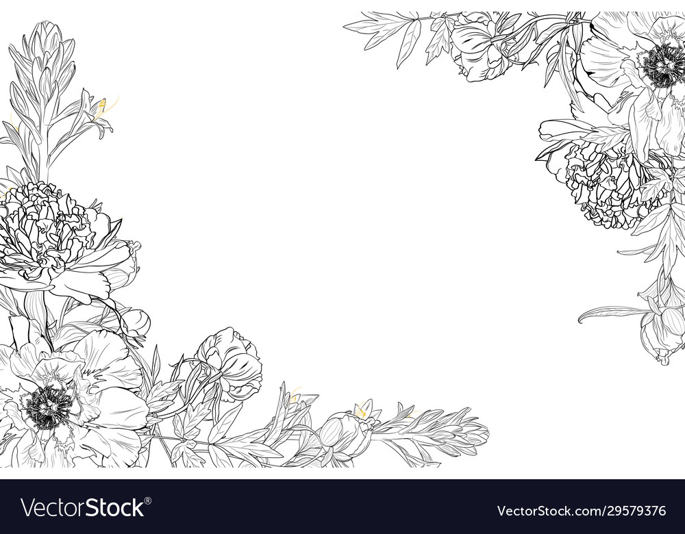 Floral border frame template with decorated corner